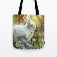 hare Tote Bags featuring Hare by Natalie Berman