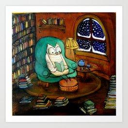 Snowy Owl Reading Art Print