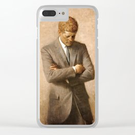 JFK - John F Kennedy Official Portrait by Aaron Shikler Clear iPhone Case