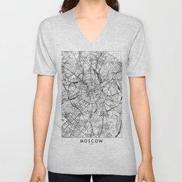 Moscow White Map Unisex V-Neck