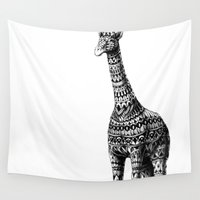 ornate elephant Wall Tapestries featuring Ornate Giraffe by BIOWORKZ