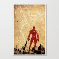 justice league Canvas Prints featuring Flash Justice League by Edmond Lim