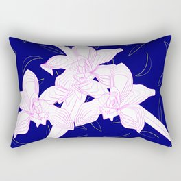 Pink and White Orchids, Navy Background Illustration Rectangular Pillow