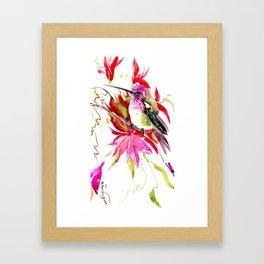 Little Hummingbird and Tropical Pink Flowers Framed Art Print