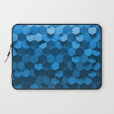 Blue hexagon abstract pattern Laptop Sleeve