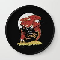 how to train your dragon Wall Clocks featuring How to Train your Smaug! by Loku