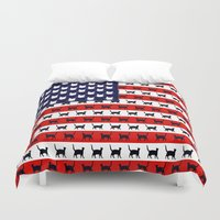 flag Duvet Covers featuring Cat Flag by Cat Attack