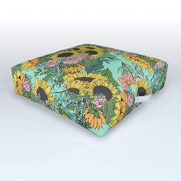 Trendy yellow sunflowers and pink roses mint design Outdoor Floor Cushion
