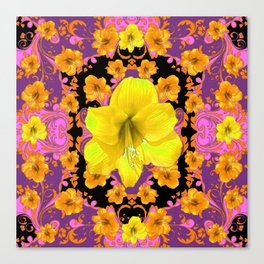 TROPICAL YELLOW & GOLD AMARYLLIS FLOWERS PATTERN ON Canvas Print