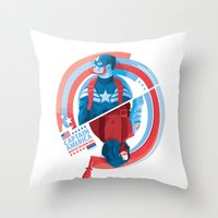the winter soldier Throw Pillows featuring The Winter Soldier by Florey