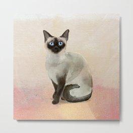 Siamese Cat Watercolor Painting Blush Pink Gold Metal Print