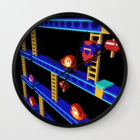 donkey kong Wall Clocks featuring Inside Donkey Kong stage 4 by Metin Seven