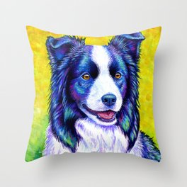 Watchful Eye -  Border Collie Dog Throw Pillow