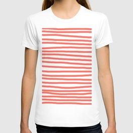 Hand Drawn Stripes Living Coral T-shirt