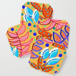 Whimsical Leaves Pattern Coaster
