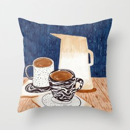 Coffee for Two Drawing by Amanda Laurel Atkins Throw Pillow