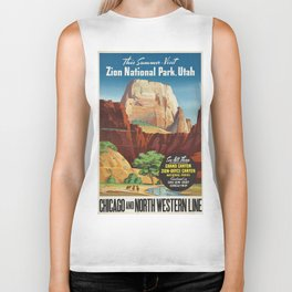 Vintage poster - Zion National Park Biker Tank