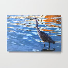 Crane on the River Shannon Metal Print