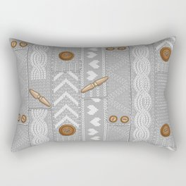 Scarves Knitted Buttoned - Gray Rectangular Pillow