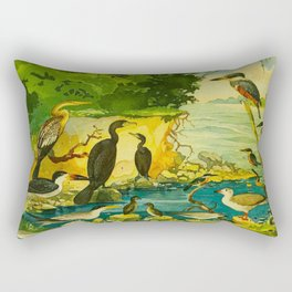 Amazonian birds by Göldi & Emil August, 1859-1917 Belem Brazil Colorful Tropical Birds Illustration Rectangular Pillow