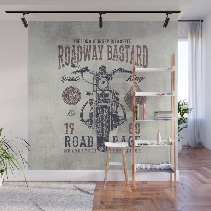 Vintage Motorcycle Poster Style Wall Mural by born2bewild Society6