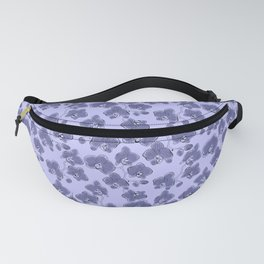 Seamless watercolor orchids phalaenopsis flowers gray blue retro pattern floral Fanny Pack