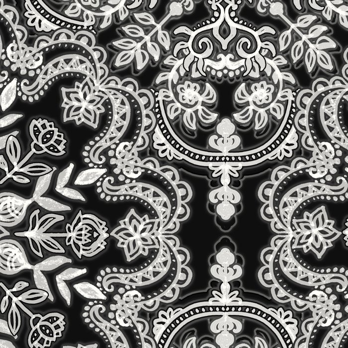 Black & White Folk Art Pattern Leggings