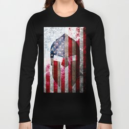 Molon Labe - Spartan Helmet Across An American Flag On Distressed Metal Sheet Long Sleeve T-shirt