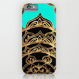 Gold Lace on Turquoise iPhone Case