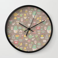 macaroon Wall Clocks featuring Tea time by Anna Alekseeva kostolom3000