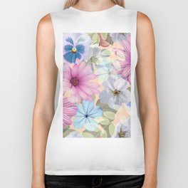 Pink and blue floral pattern Biker Tank
