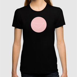 Capricorn Star Sign Soft Pink Circle T-shirt
