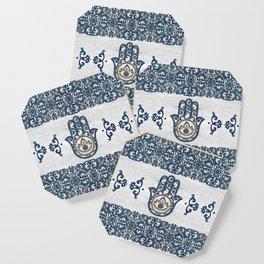 Hamsa Hand Hand of Fatima blue wood Coaster