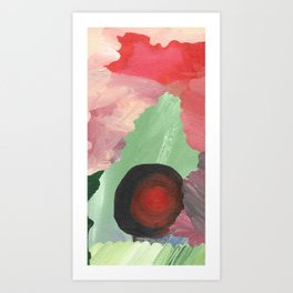 Birth - beautiful velocity, a green and red abstract Art Print