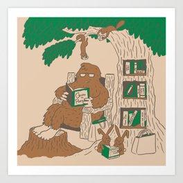 Reading with Sasquatch Art Print