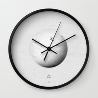 fifth element Wall Clocks featuring Element: Air by David Bastidas