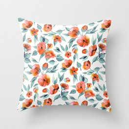 Fresh Spring Blooms in Watercolor - blue grey and apricot coral on white Throw Pillow