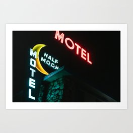 Welcome to the Half Moon Motel - Neon Sign - Culver City, CA Art Print