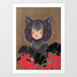 Fox Spirit Kitsune in Gingko Art Print