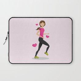 Cute Girl Who Loves To Run Cartoon Illustration Laptop Sleeve