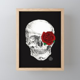 Rose Skull Black Framed Mini Art Print