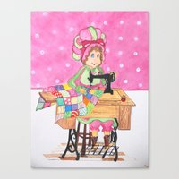 sewing Canvas Prints featuring Sewing by  Artsanew