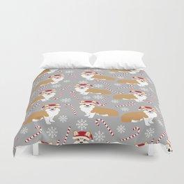 Corgi Christmas - peppermint stick, candy cane, christmas blanket, corgi blanket, corgi decor Duvet Cover