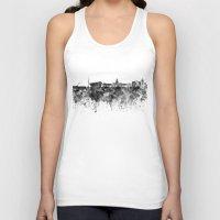 dublin Tank Tops featuring Dublin skyline in black watercolor by Paulrommer