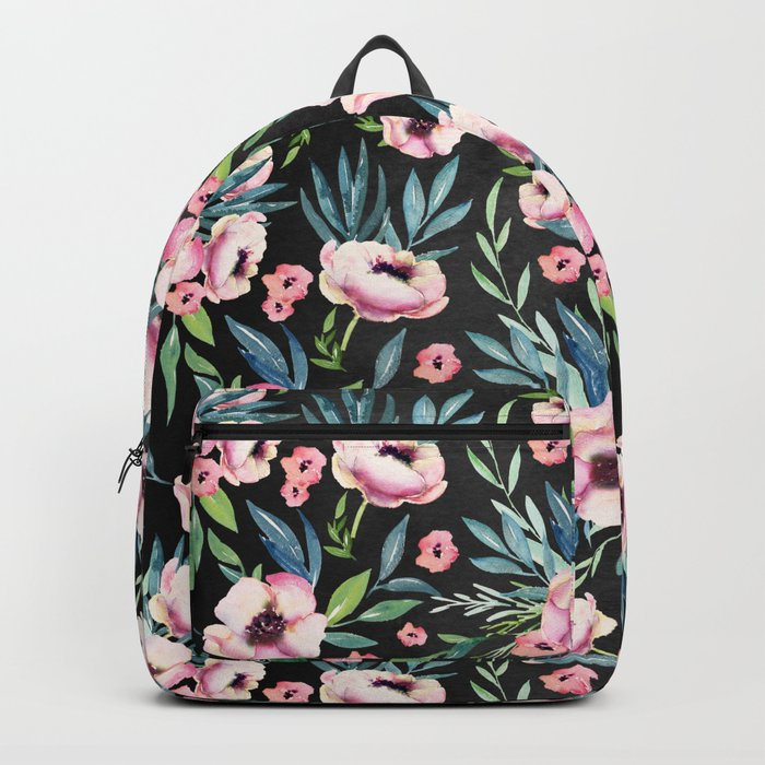 Pink Floral on Black Backpack