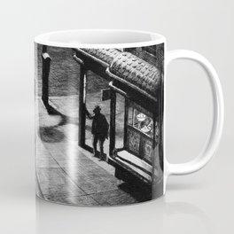 Speakeasy Corner, Night cityscape street view black and white portrait by Martin Lewis Coffee Mug