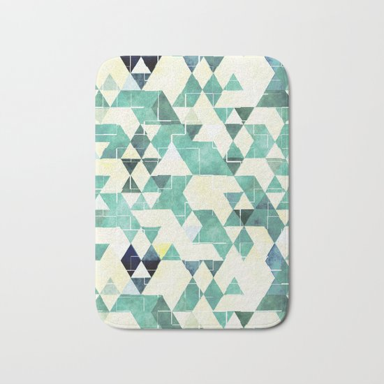 Abstract Green Triangles, Watercolor Pattern Bath Mat