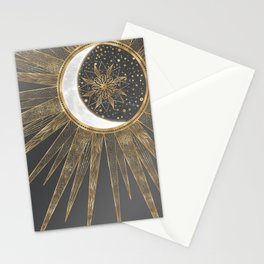 Elegant Gold Doodles Sun Moon Mandala Design Stationery Cards