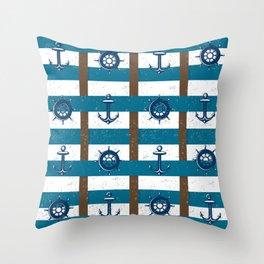 Retro Ocean and Sea Nautical Anchor brown Blue Throw Pillow