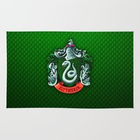 slytherin Area & Throw Rugs featuring SLYTHERIN  by Smart Friend